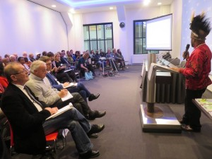 Benny giving a speech at the start of International Lawyers for West Papua (ILWP) in the Netherlands