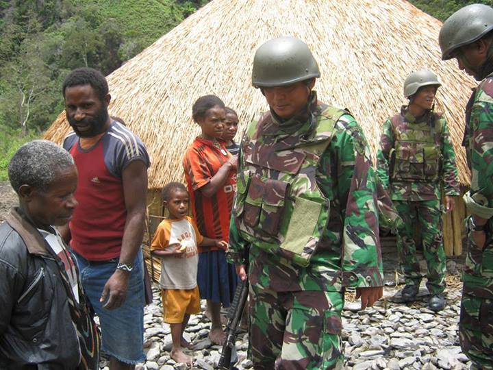 Indonesian soldiers conducting a military operations in the Central Highlands of West Papua. 2013
